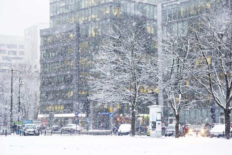 Śnieżyca w mieście obrazy royalty free