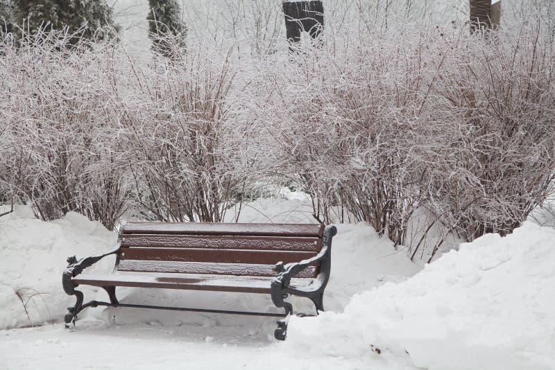 Śnieżysta ławka w miasto parku zdjęcie royalty free