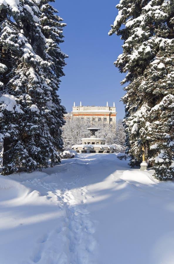 Śnieżysty kwadrat przed Głównym budynkiem Moskwa Stat zdjęcie royalty free