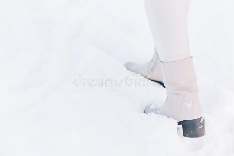 Śnieg biały w czasie wędrówki zimą zdjęcie stock