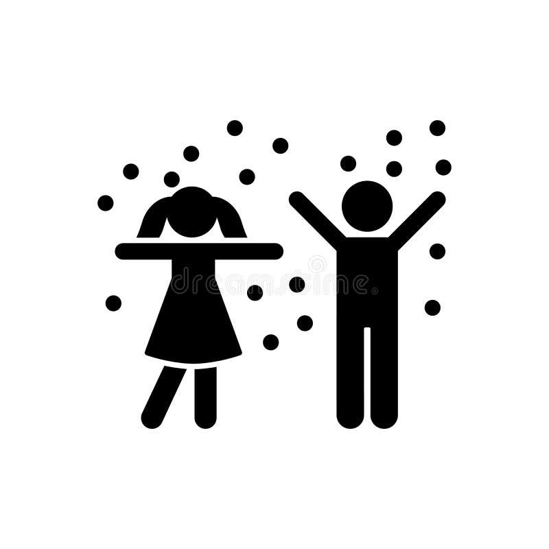 Śnieg, chłopiec, dziewczyna, płatek śniegu ikona Element dziecko piktogram Premii ilo?ci graficznego projekta ikona podpisz symbo royalty ilustracja