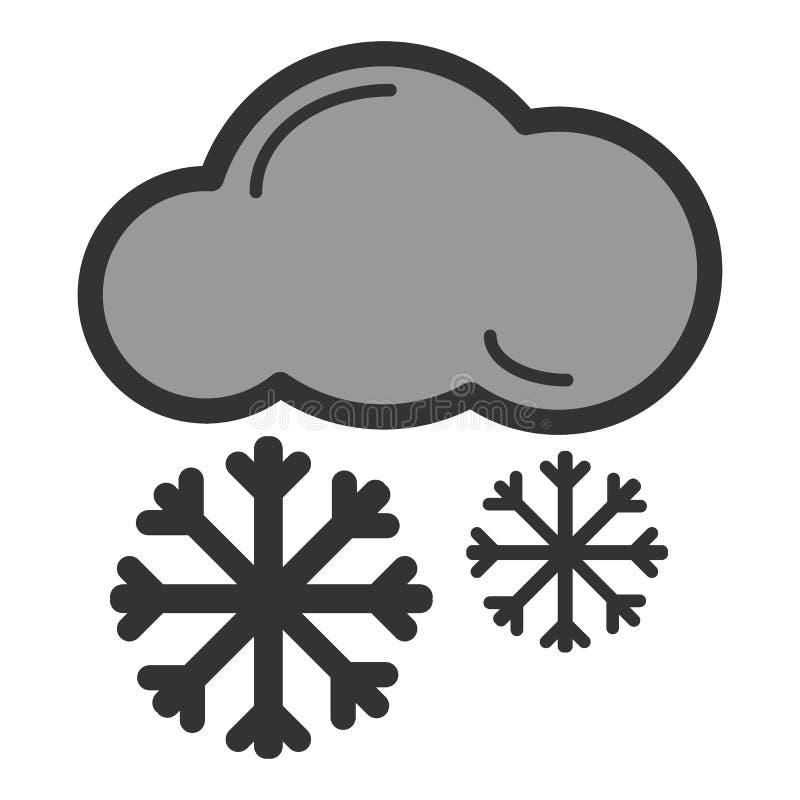 Śnieg chmury linii ikona, wektoru znak, liniowy koloru piktogram odizolowywający na bielu royalty ilustracja