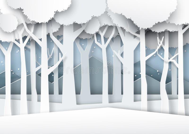 Śnieg i zima przyprawiamy lasowego sylwetki tła papieru sztuki st ilustracji
