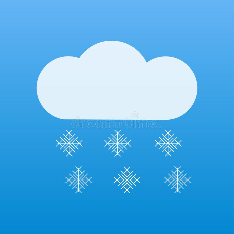 śnieg ikony pogodowi płatek śniegu spada od chmur ilustracji