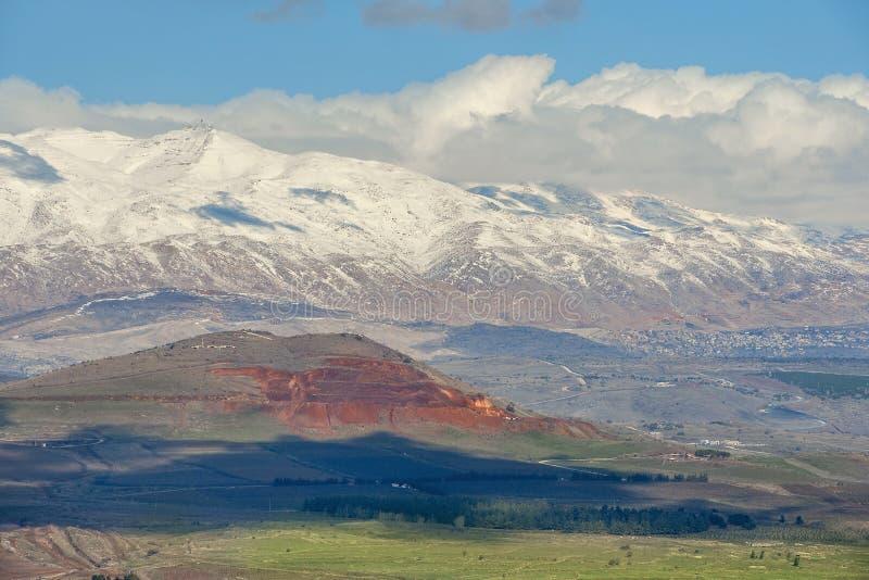 Śnieg na górze Hermon, wzgórze golan, Izrael zdjęcie royalty free