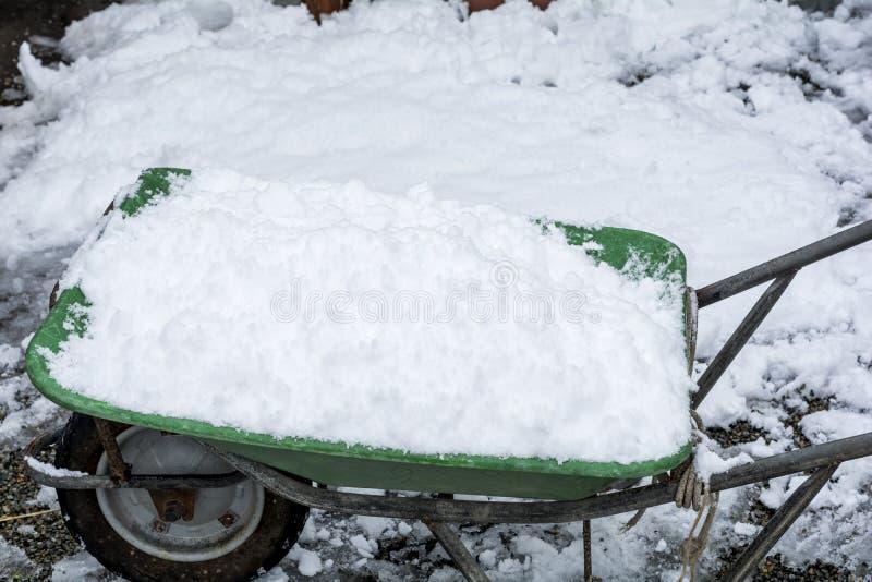 Śnieg na wheelbarrow fotografia stock