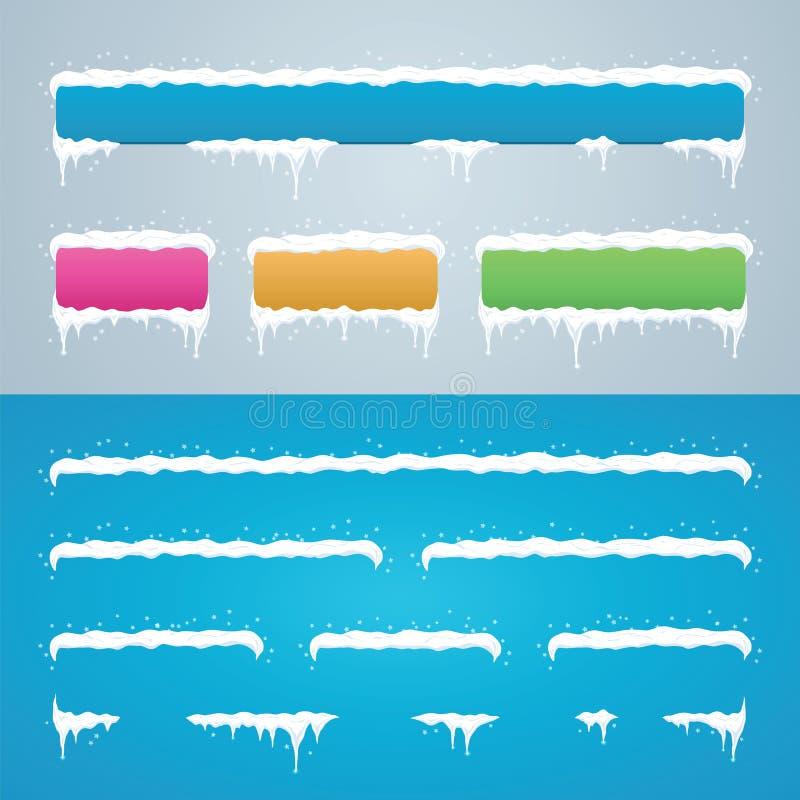 Śnieg nakrętki ustawiają na miejsce menu guzikach i barze dekoracja nowego roku royalty ilustracja