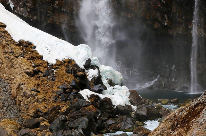Śnieg przy Kegon Watefalls, Japonia obrazy royalty free
