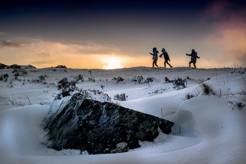 Śnieg przy Mahon spadkami, Waterford zdjęcia stock