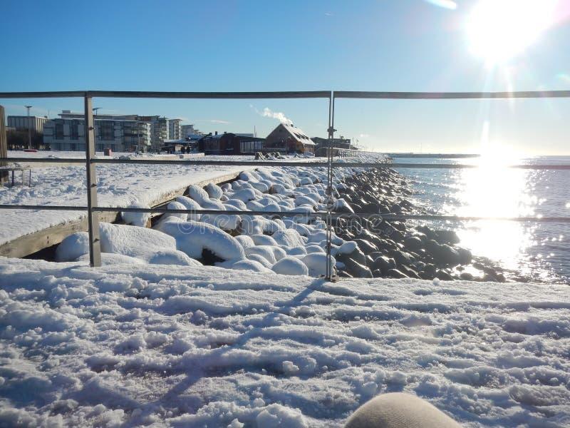 Śnieg Scenary w Szwecja I zima zdjęcie stock