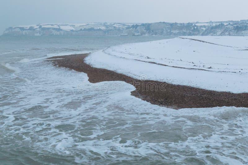 Śnieg spada na Jurajskim wybrzeżu zdjęcia royalty free
