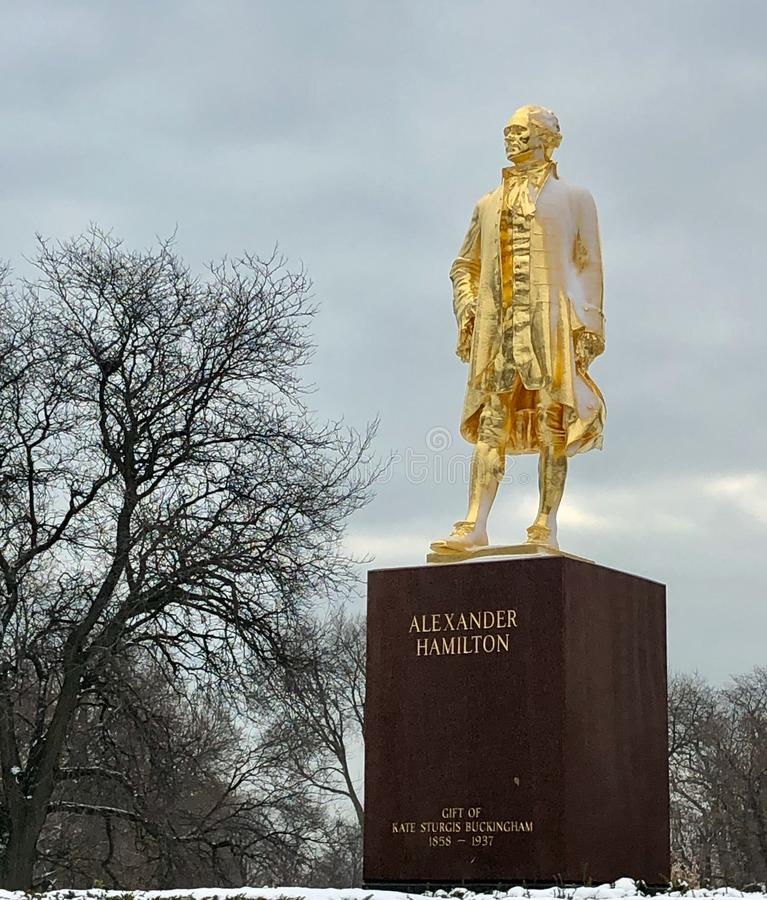 Śnieg Uwydatniający Alexander Hamilton zabytek zdjęcia royalty free
