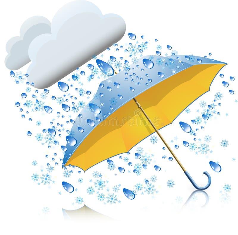 Śnieg z deszczem i parasolem ilustracja wektor