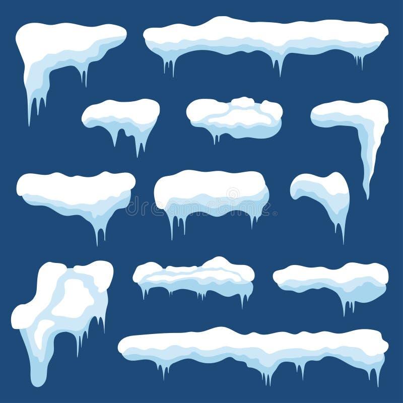 Śnieg z soplami i śniegów dryfami Zima śniegu nakrętki z lodem Set różne marznąć, śnieżne ramy dla dekoraci, ilustracji