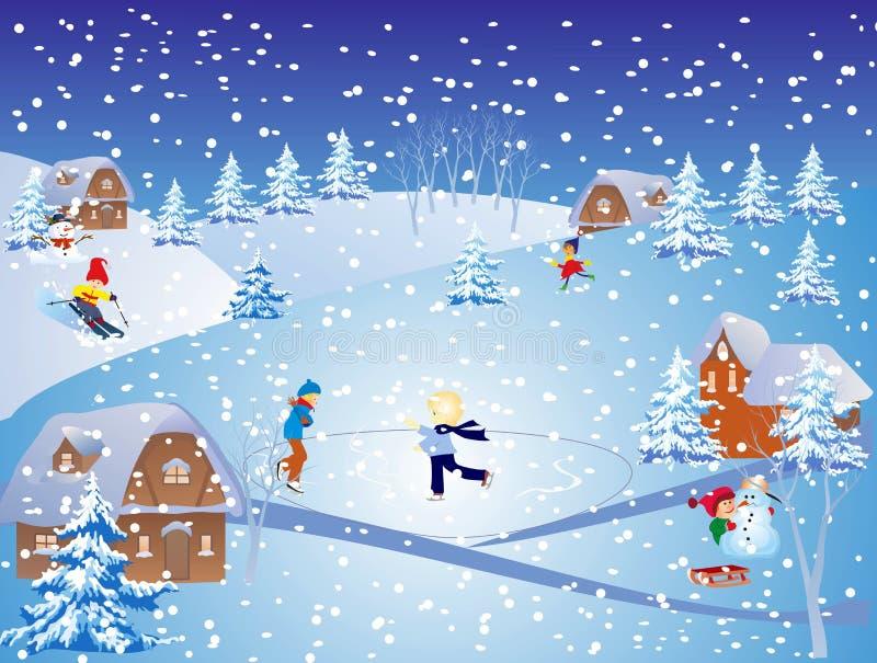 śnieg zabawa royalty ilustracja