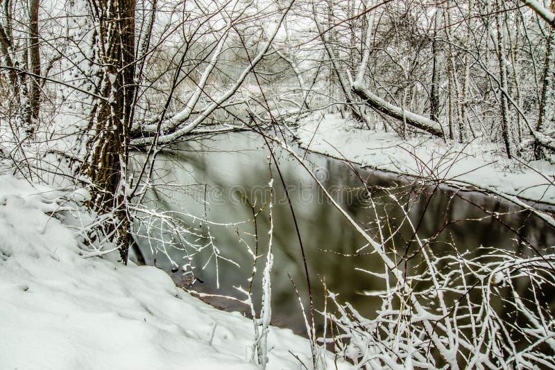 Śnieg zakrywał krajobrazy w Belmont północny Carolina wzdłuż catawba fotografia royalty free