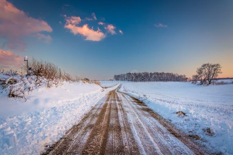 Śnieg zakrywał pole wzdłuż drogi gruntowej przy zmierzchem, w wiejskim Jork Co zdjęcia royalty free