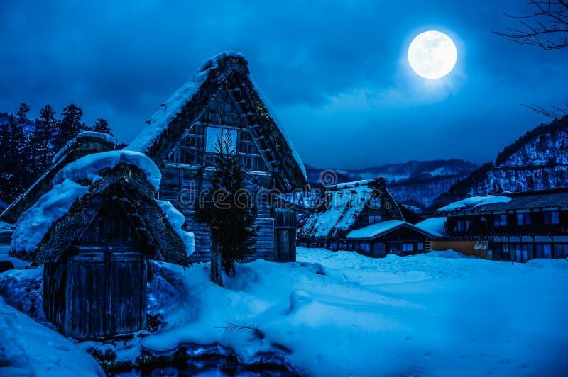 Śnieg zakrywał ziemię w zimie Miasteczko z nocnym niebem i folujący obrazy royalty free