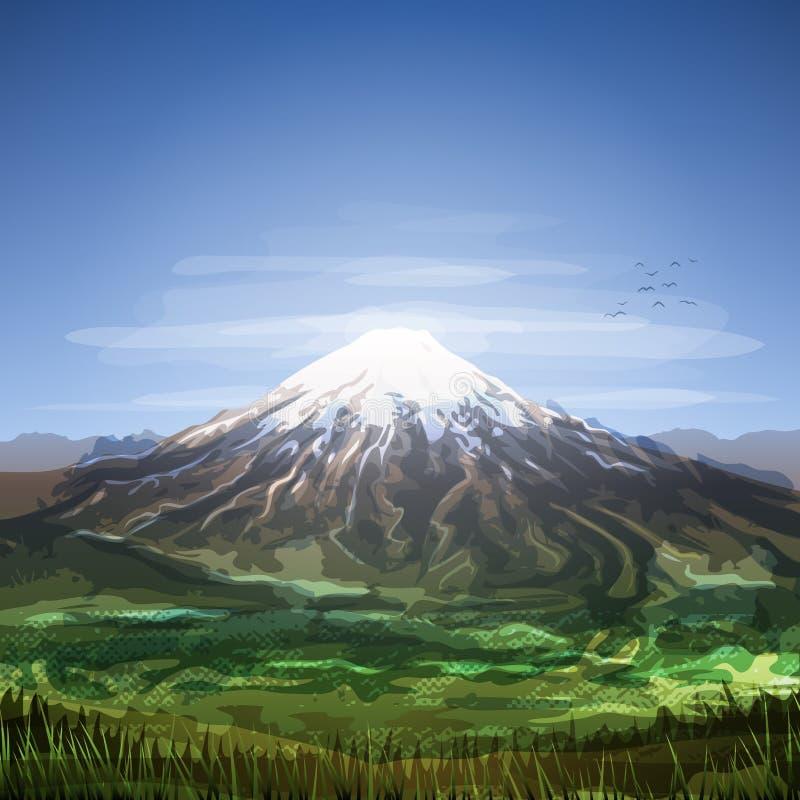 Śnieg zakrywająca chmurna halnego szczytu sceneria ilustracji