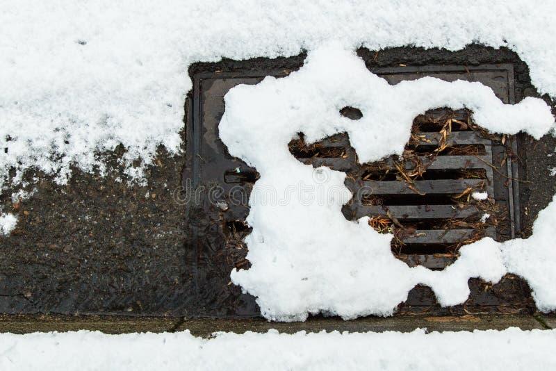 Śnieg zatykający ulica odciek zdjęcia royalty free