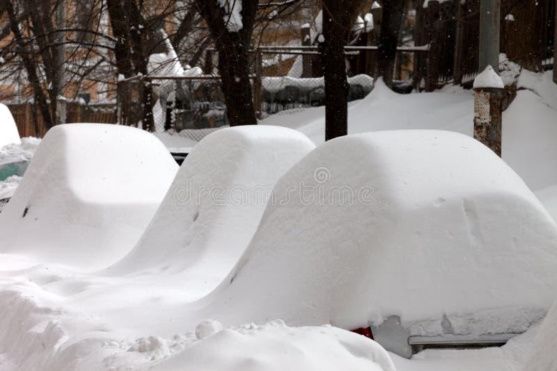 Śniegi zakrywający samochody po opadu śniegu obrazy stock