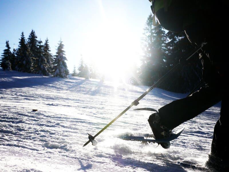 Śniegu obuwiany chodzący sillhouette zdjęcia royalty free