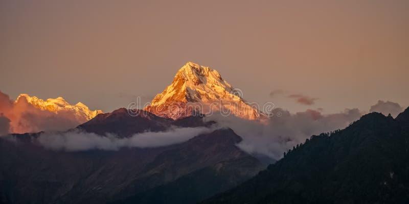 Śniegu szczyt Annapurna góra przy wschód słońca wśród chmur w himalajach w Nepal obraz royalty free