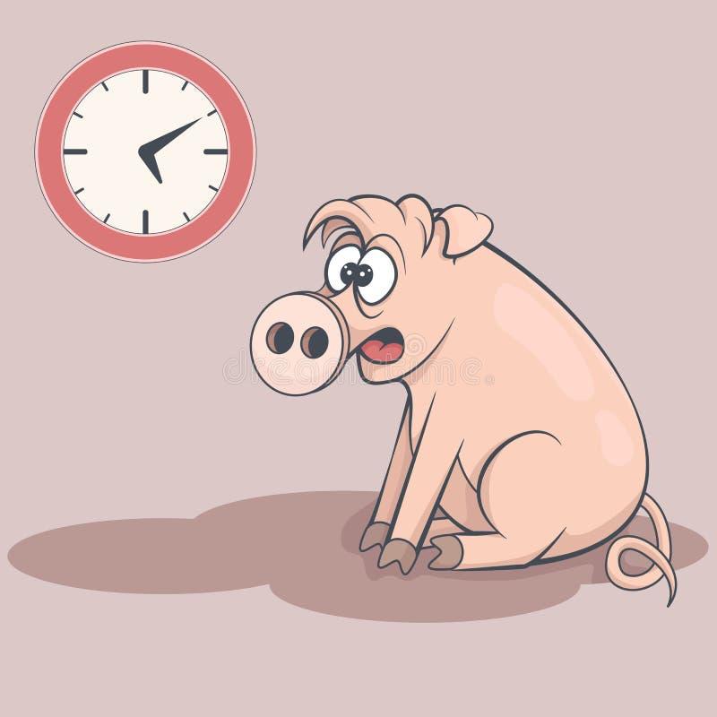 Śpiąca kreskówki świnia w wczesnym poranku Zmęczone chlewnie ilustracja wektor
