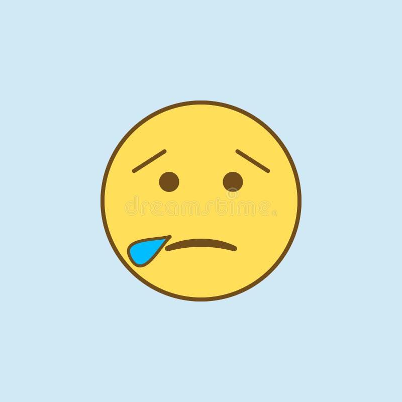 śpiący 2 barwiąca kreskowa ikona Prosta koloru żółtego i brązu elementu ilustracja śpiący pojęcie konturu symbolu projekt od emoj ilustracja wektor