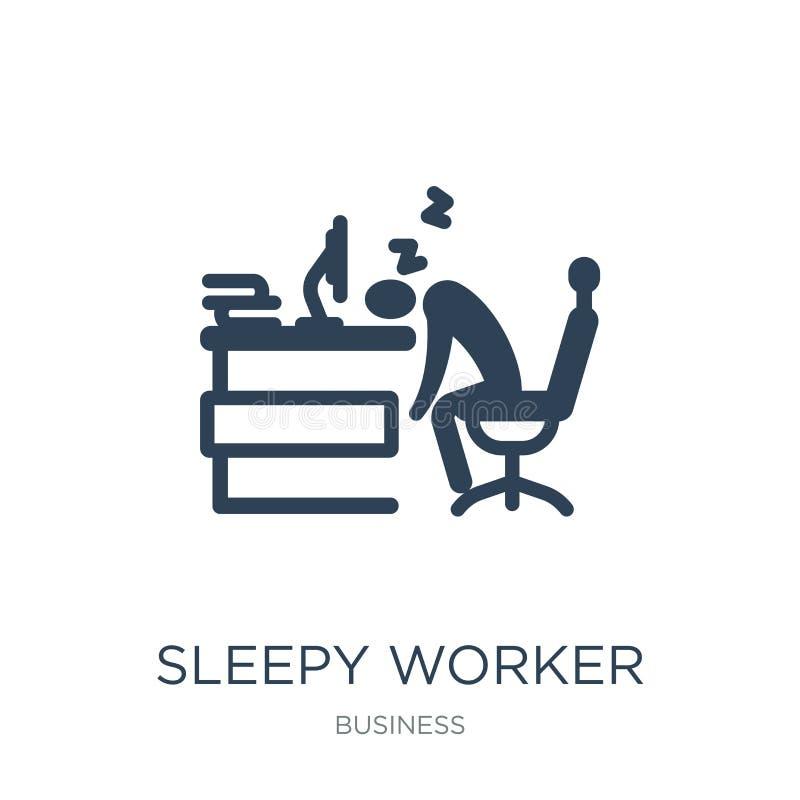 śpiący pracownik przy pracy ikoną w modnym projekta stylu śpiący pracownik przy pracy ikoną odizolowywającą na białym tle śpiący  ilustracji