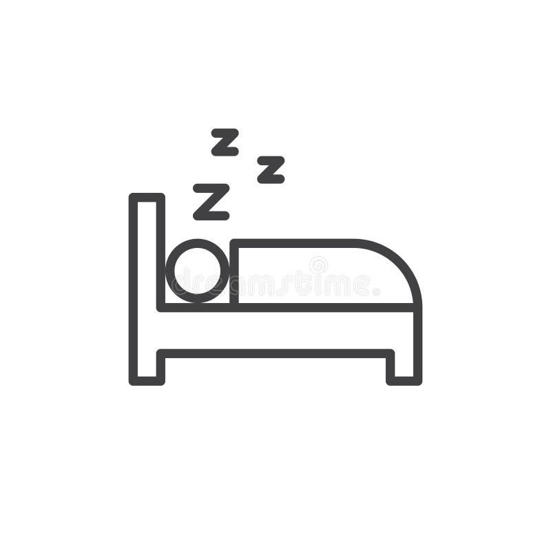 Śpiący w łóżko linii ikonie, konturu wektoru znak, liniowy stylowy piktogram odizolowywający na bielu ilustracja wektor