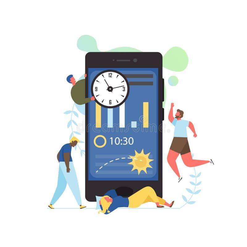 Śpi app, wektorowa mieszkanie stylu projekta ilustracja ilustracja wektor