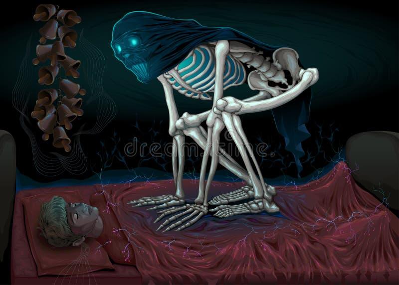 Śpi paraliż, horror scena z demonem w sypialni ilustracja wektor