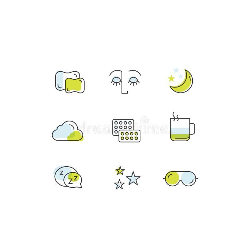 Śpi problemy, bezsenność ikony, traktowanie i pigułki, sypialna osoba z maską, gorący napój, sllepy twarz ilustracji
