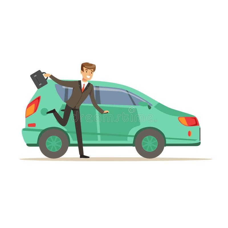 Śpieszący mężczyzna charakteru biega jego samochód, biznesmen jest opóźnionym wektorowym ilustracją ilustracja wektor