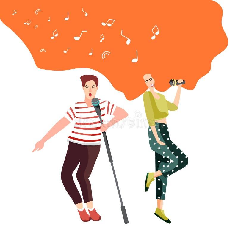 Śpiewać i tanczyć z mikrofonów młodzi ludzie przy koncertem dla widowni lub śpiewamy w karaoke klubie royalty ilustracja