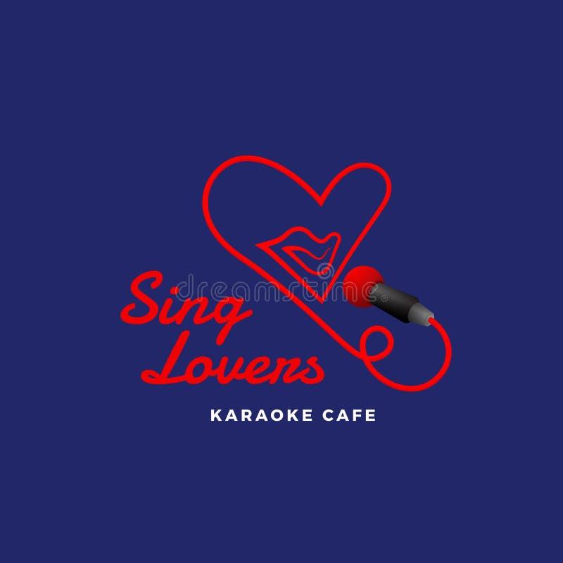 Śpiewa kochankom karaoke Abstrakcjonistyczny wektoru znak, emblemat lub loga szablon, Śpiewacki usta w mikrofonie w Kierowym kszt royalty ilustracja