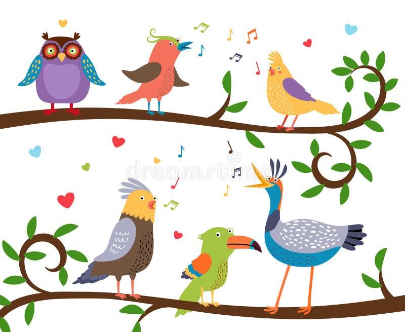Śpiewaccy ptaki na gałąź royalty ilustracja