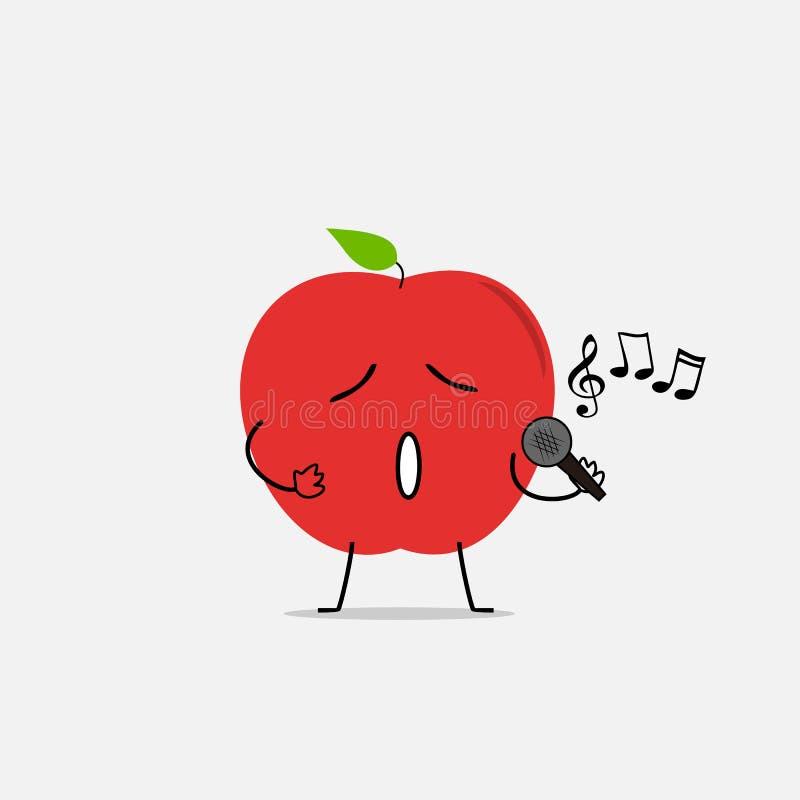 Śpiewacka jabłczana prosta czysta kreskówki ilustracja zdjęcie royalty free