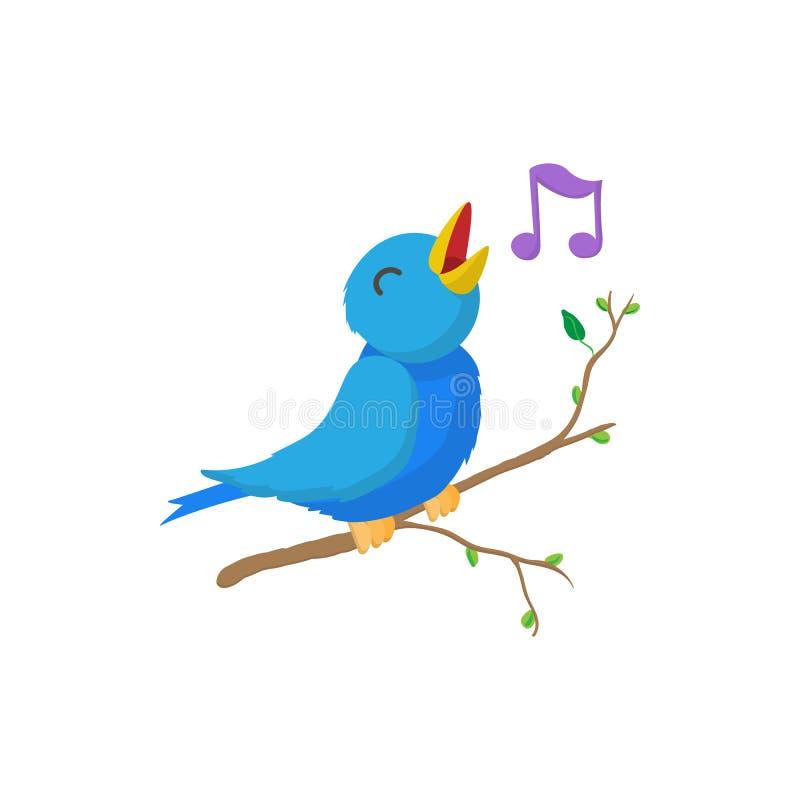Śpiewacka ptasia ikona, kreskówka styl ilustracji