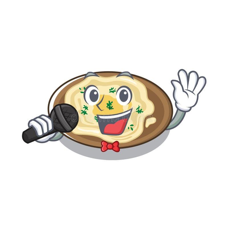 Śpiewający hummus na płycie z kreskówki ilustracji