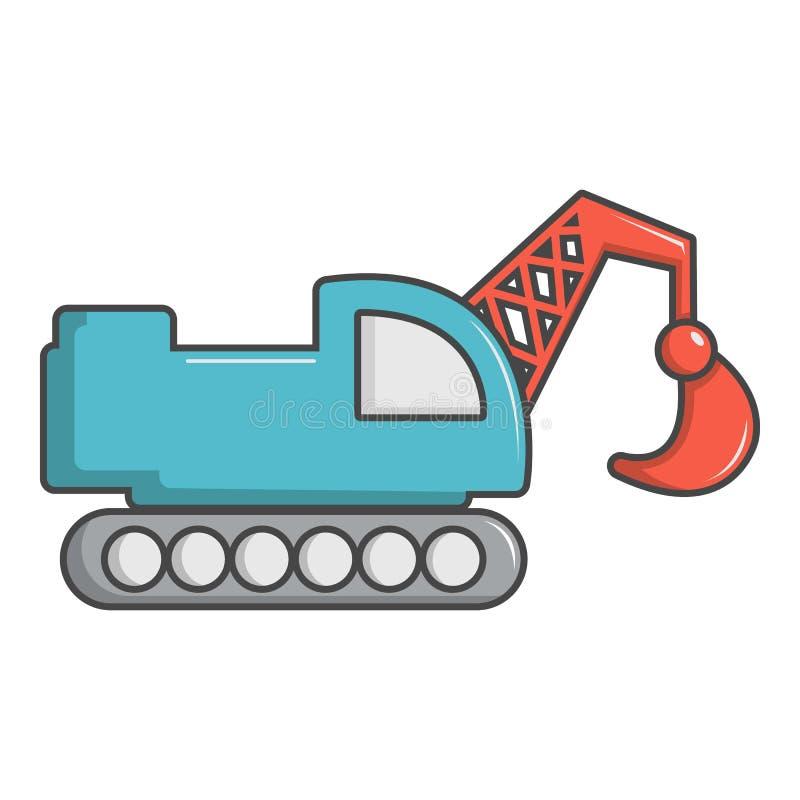 Śpioszka ekskawatoru ciężarówki ikona, kreskówka styl ilustracja wektor