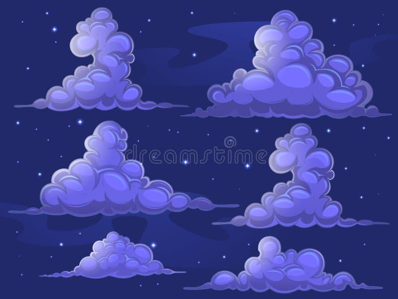 Śródnocne kreskówek chmury ilustracja wektor