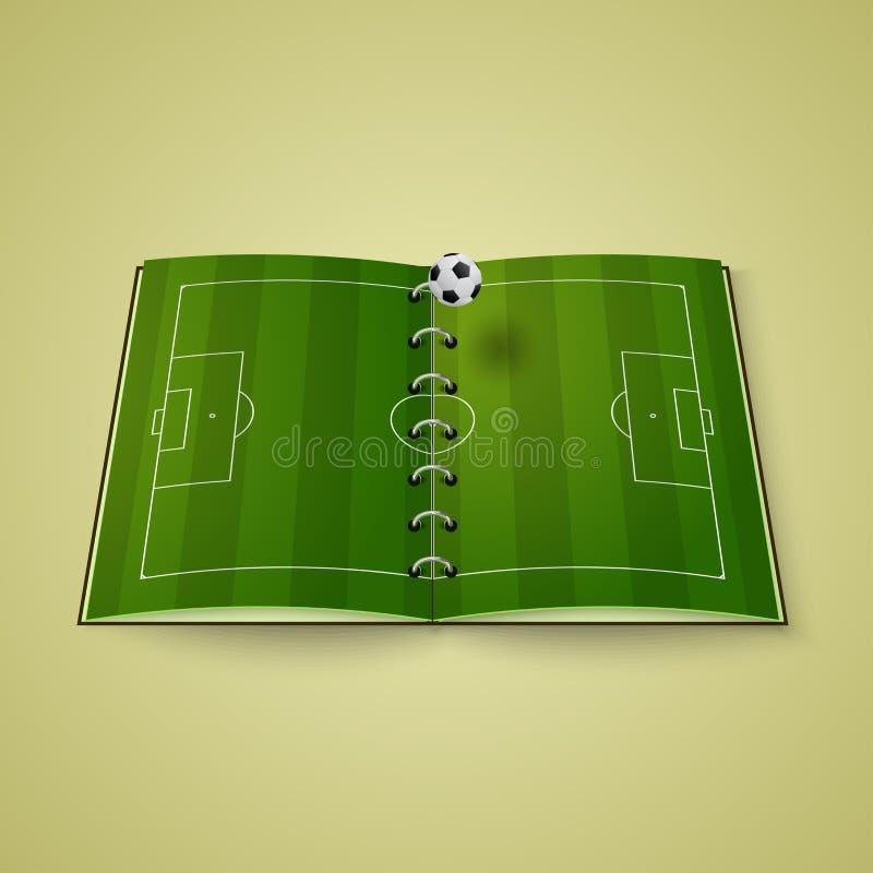 śródpolna projekt piłka nożna ty Otwiera książkę z boiskiem piłkarskim royalty ilustracja