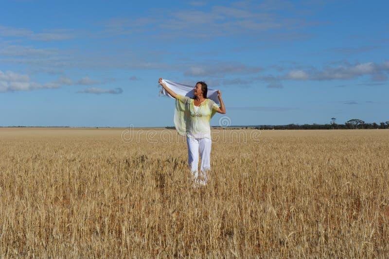 śródpolna szczęśliwa dojrzała pszeniczna kobieta zdjęcie royalty free