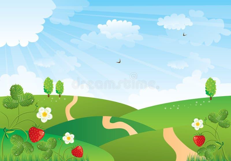 śródpolna truskawka ilustracji