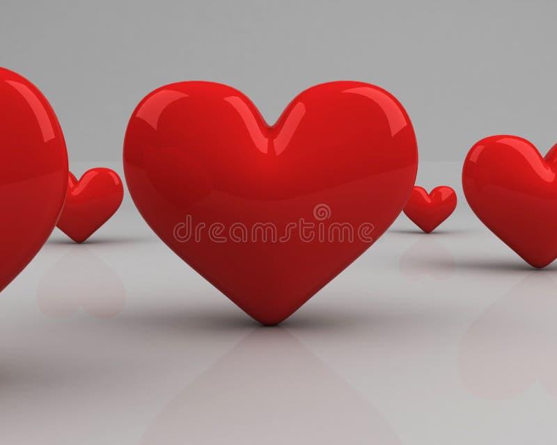 śródpolnego grey serca nad czerwienią ilustracji