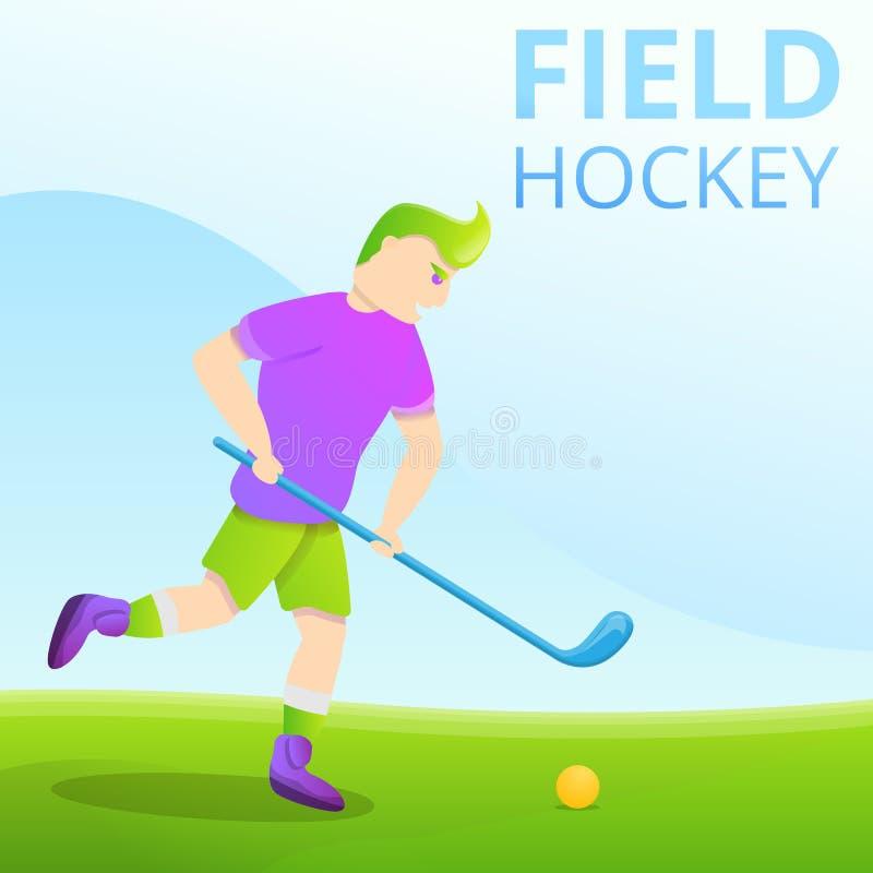Śródpolnego hokeja pojęcia sztandar, kreskówka styl ilustracji