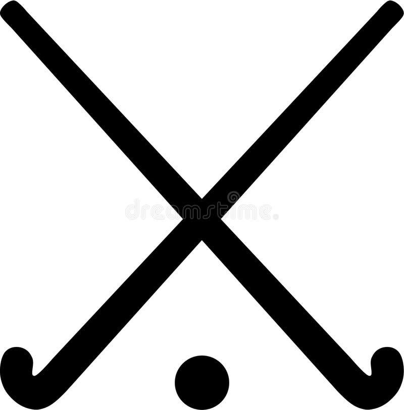 Śródpolni Hokejowi kije z piłką royalty ilustracja