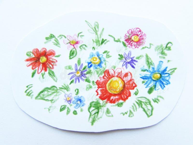 Śródpolni stubarwni kwiaty rysujący kolorów ołówków freehand ścinkiem na białej księgi tle zdjęcia stock